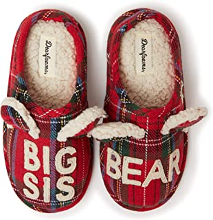 Dearfoams Family Collection 婴儿熊格子封闭拖鞋