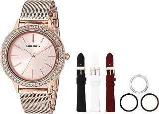 Anne Klein 安妮克莱因 女式施华洛世奇水晶点缀手表,带可互换表带和表圈