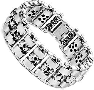Urban Jewelry 不锈钢银色厚头骨 8.6 英寸男式手链
