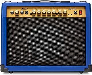 LyxPro 40 瓦吉他放大器内置扬声器主动无源耳机和麦克风,辅助输入包括增益低音中高音延迟时间重复音量和研磨蓝色