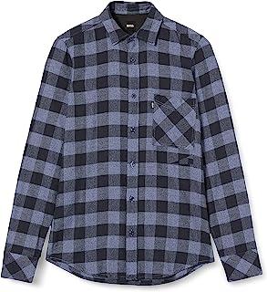 BOSS 男士 Relegant 2 方格常规款衬衫 拉丝棉斜纹棉布