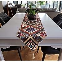 Secret Sea Collection- 现代波西米亚图案桌布,棉质,完美搭配餐桌,侧桌和端桌 68x14