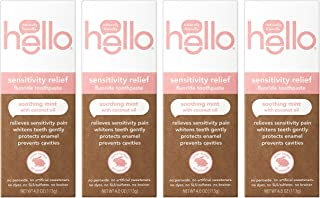 Hello Oral Care 含氟牙膏 Soothing Mint & Coconut Oil 4 Ounce (Pack of 4)