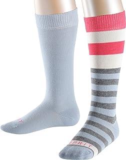ESPRIT 思捷 中性款儿童条纹及膝袜 2 双装 - 82% 棉,多种颜色,尺码:2 至 16 岁 - 英国6-8 岁 - 欧码 23-42,2 件装 - 亲肤,适合休闲造型