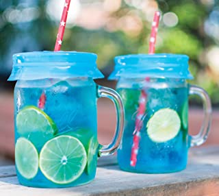 Blossom Sipping uCaps for Wide Mouth Mason Jar Silicones, 4-Inch, Blue, Set of 4