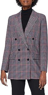 BOSS 女式 C Jawinta 双排扣休闲夹克,带多色格子