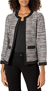 Anne Klein 女士开襟花呢框架夹克,带贴袋