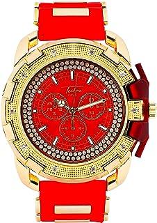男士 50 毫米闪亮硅胶表带手表,带铆钉 ICY 表盘和模拟计时显示,带编号索引 - 大号冰晶手表 - 石英机芯