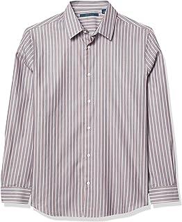Perry Ellis 男式垂直多色条纹提花长袖系扣衬衫
