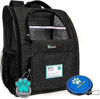 PetAmi 豪华宠物背包,适合小型猫和犬,小狗 | 透气设计,双面入口,*特点和靠垫背部支撑 | 适合旅行、远足、户外使用 炭黑色