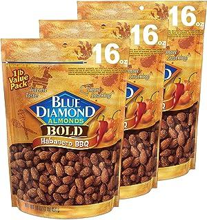 Blue Diamond Almonds 杏仁 Bold Habanero 烧烤味,16盎司/约453.59克(3件装)