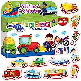 冰箱磁贴适合幼儿,儿童汽车和专业,34 张装 - 婴儿磁铁 - 泡沫磁铁 - 儿童冰箱磁铁 - 儿童冰箱磁铁 - 儿童冰箱磁铁 - 幼儿冰箱磁铁 - 儿童磁铁