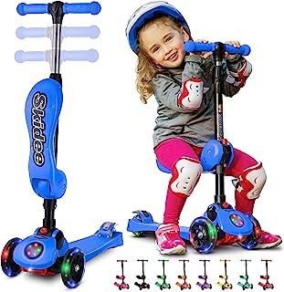 SKIDEE 滑板车,适合 2-12 岁儿童 - 可折叠滑板车,带可拆卸座椅,3 个 LED 灯轮,后轮刹车,宽支架板,高度可调 - 110 磅(约 49.9 公斤)容量(带音乐)