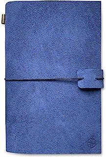 A5 蓝色麂皮皮革笔记本 - Wanderings A5 可填充旅行日记,手工制作真皮 - 非常适合写作、诗人、旅行者作为日记 - 空白衬垫 - 22 x 15 厘米,8.5 x 6 英寸(A5)