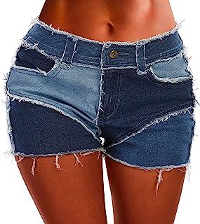 POTILI 拼色拼接牛仔短裤,适合女士,中腰,夏季女士牛仔短裤磨边下摆带口袋