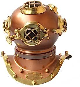 CollectiblesBuy 复古手工*潜水头盔迷你美国*圣诞节,20.32 厘米,铜饰面