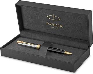 PARKER 派克 Sonnet 圆珠笔 | 高级金属和黑色光泽表面金色饰边 | 中号笔尖带黑色墨水笔芯 | 礼品盒