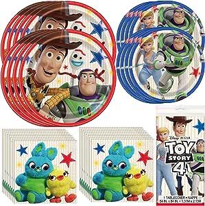 Unique Toy Story 4 餐具套装官方*   餐巾纸、盘子、桌套   非常适合儿童生日派对、动画主题、皮克斯和迪士尼庆典活动