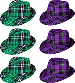 6 件圣帕特里克节格子布帽,狂欢节派对帽,圣帕特里克节帽,*格子帽,中性款