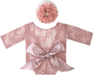 新生儿摄影道具女孩针织婴儿照片道具蕾丝连衫裤紧身衣裤套装(皮革粉色)