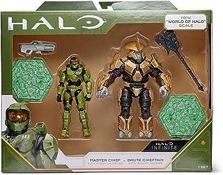 光环 3.75 英寸英雄与反派人偶套装 - 带有 Hydra 发射器的大师首领与重力锤的Brute Chieftain (无限)