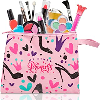 FoxPrint My First Princess 化妆套装-12件儿童化妆玩具,可水洗,这些女孩化妆玩具包括公主需要打扮的所有物品-随附时尚包包