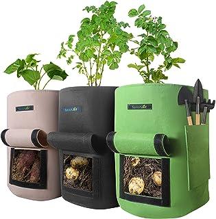 SproutJet 3 包 10 加仑(约 30.5 升)土豆生长袋,红薯种植袋,番茄培植器,带口袋,坚固的把手,窗盖,蔬菜入口和排水孔;大号织物花园袋