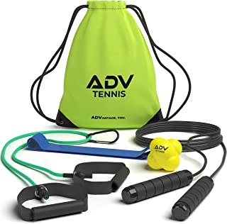 ADV Tennis 健身套装 - 阻力带,拉绳,反应球和跳绳 - 针对性健身设备专为网球运动员和教练设计