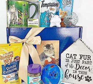 猫礼品盒篮,适合*喜欢的猫毛宝贝小猫和他/她的守护者 - 9 件装 - 迷人的标志、优质马克杯、零食和玩具