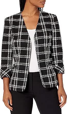 Kasper 女式针织格子飞行夹克,带袖口袖细节