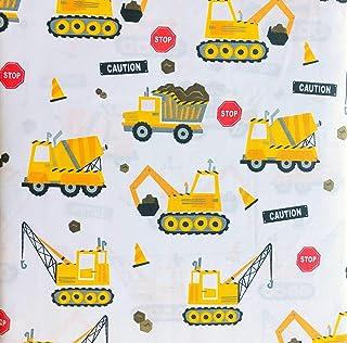 Boy Zone 3 件套单人床尺寸床单套件工程车辆后孔水泥卡车黄色红色白色