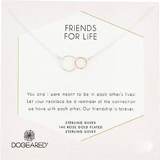 Dogeared Friends For Life 标准纯银和玫瑰金凹陷环项链