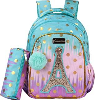Sarhlio 儿童背包 16 英寸(约 40.6 厘米)适合女孩,带铅笔盒球吊坠可爱书包轻质耐用防水书包套装小学户外旅行亮片塔 (BPK36C)