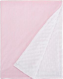 aBaby Minky Dot and Seersucker 婴儿毯,粉色/白色