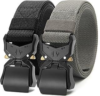 CHAOREN 2 件装男式快速释放战术腰带 1.5 英寸(约 3.8 厘米)休闲军装束网带,男式重型眼镜蛇腰带