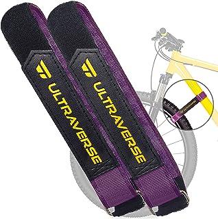 Ultraverse 自行车架带,自行车车轮稳定器,适用于汽车和车库架,多功能可调节魔术贴带防滑硅胶凝胶,2 件套