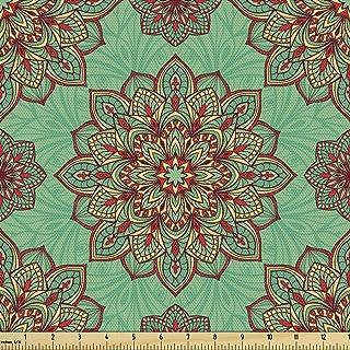 Ambesonne 蓝*面料,曼陀罗传统几何艺术的东方图案装饰面料,装饰面料,适合装潢和家居装饰,3 码,黄色*