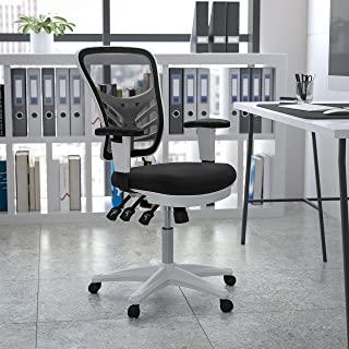 Flash Furniture 中背黑色网眼多功能行政旋转人体工程学办公椅,带可调节扶手和白色框架