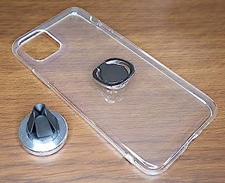 iPhone 11 配件套装透明手机壳环指托和磁性车载支架银色/银色