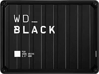 Western Digital 5TB P10游戏驱动器便携式外置硬盘驱动器,与PS4 Xbox One PC和Mac兼容WDBA3A0050BBK WESN,黑色