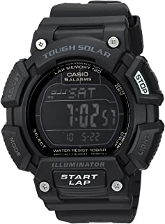 Casio 卡西欧男式'Tough Solar' 石英不锈钢和树脂运动手表,颜色:黑色(型号:STLS-110H-1B2CF)
