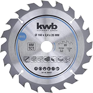 kwb CleanCut 584557 纸板圆锯片,木/硬木,160 x 20 毫米,清洁切割,中等数量,20 齿 Z-20,160 x 20