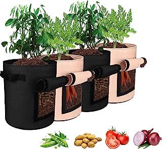Sarhlio 4 件装 7 加仑土豆种植袋透气无纺布种植袋,带双把手和魔术贴,用于种植蔬菜、番茄、胡萝卜、洋葱、水果,2 种颜色(PGB01A)
