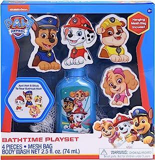 Paw Patrol 狗狗巡逻队沐浴套装组合套装,2.5 盎司(约 70.1 克)儿童沐浴露带泡沫贴花 Chase、Marshall、Rubble和Skye 卡通人物套装和悬挂网袋,儿童沐浴凝胶套装,趣味沐浴时光玩具