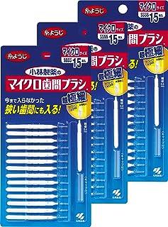小林製薬 超细齿间刷 I字型 超细型 SSSS 15支(牙线品牌)×3个 【量贩装】