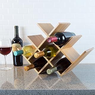 Classic Cuisine 82-KIT1063 竹制 8 架空储物架独立式*瓶架,适用于厨房、*吧、餐厅 - 现代储物架,木