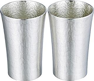 大阪锡器 时尚 锡 啤酒杯 玻璃杯 银 φ6.5×H10cm 200cc 丝滑系列 标准 一对 16-1-2 2个装