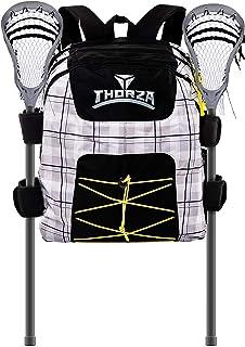 Thorza Lacrosse 背包带棍架和多口袋设备存储手套、防滑钉、垫子和守门员装备 - 大容量、游戏、旅行和练习使用