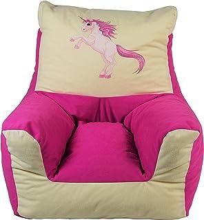 Heunec - 775299 - 独角兽儿童座椅扶手椅,约 48 厘米,粉色/米色