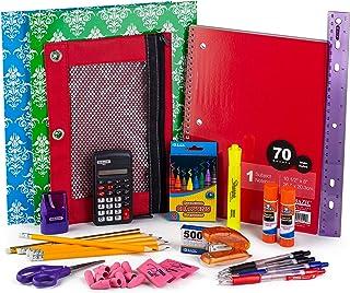 返校包包 | 儿童学校用品包 | 返校套装,带笔记本、蜡笔、胶水棒、粉红色橡皮擦、铅笔、笔、计算器、尺、高光标记等
